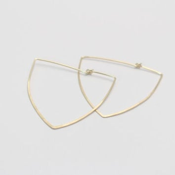 Crest Hoop Earings- Sterling Silver, Rose Gold, or 14k Gold Fill-Hand Forged