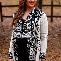 Tribal and True Cardigan: Ivory/Black - Off the Racks Boutique