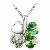"Swarovski Elements Crystal Four Leaf Clover Pendant Necklace 19""-CN9034SG: Jewelry"