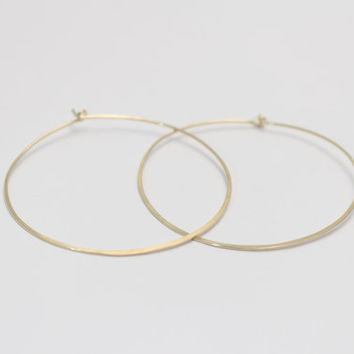 Circle Hoop Earrings- Hand Forged Sterling Silver, Rose Gold, or 14k Gold Fill