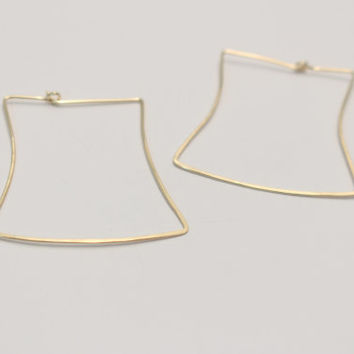 Hand Forged Square Silouhette Hoop Earrings- Sterling Silver, Rose Gold, or 14k Gold Fill