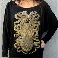 Golden Octopus Longsleeve Womans Dolman Shirt