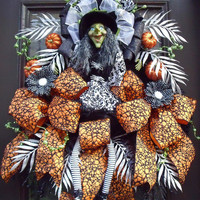 Designer Halloween Wreath, Halloween Witch Wreath, Fall Wreath, Halloween Door Decor