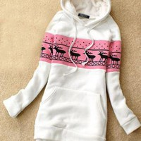 White Deer Pullover Hooded Sweatshirt  S002689