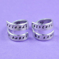 [♡014] friends by heart / sisters by soul - Hand Stamped Spiral Rings Set, Best Sisters RIngs - US