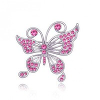 Rose red butterfly crystal brooch   style zz92001103 in  Indressme