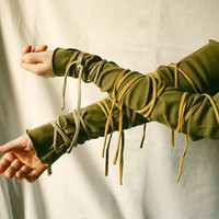 Wrapped Arm Warmers Olive Funky  Wrists Upcycled Woman's Clothing Tattered Shabby Chic Eco Friendly Style Upcycled Clothing