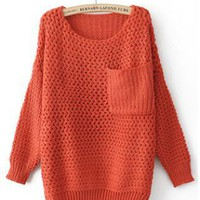 Round Neck Orange Sweater with Pocket  S003211