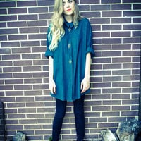 Vintage Hunter Green Teal Gold Metal Applique Button Up Oversized Shirt Dress