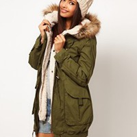 ASOS Fur Hooded Detachable Lined Parka at asos.com