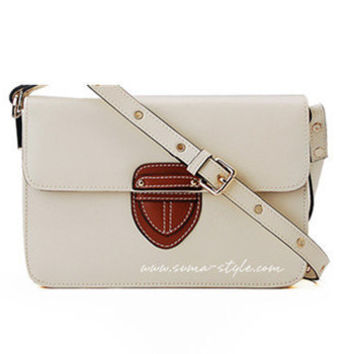 White Leather Cross Bady Bag - Sheinside.com