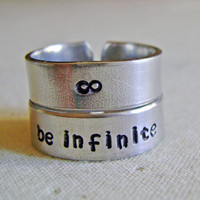 Stacking rings, infinity ring, be infinite, two custom rings