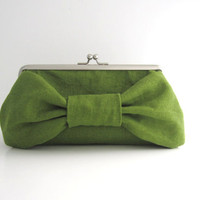 Frame Clutch with Bow- green tea linen