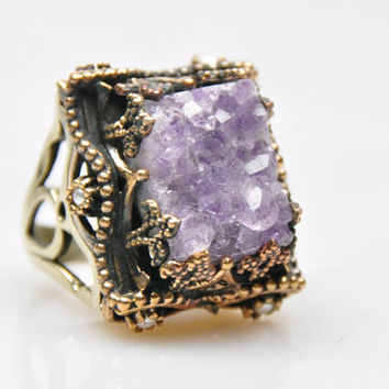 Authentic Durzy Amethyst Stone Ring, Bohemian Jewelry, Jewelry Findings, Boho Ring, Gypsy Style