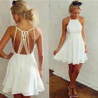 Nayla Cradle Skater Dress - White /