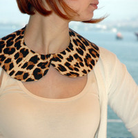 Detachable Brown and Beige Cream Leopard Peter Pan Collar - Butterfly Collar