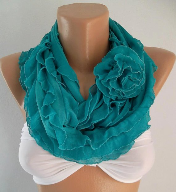 NEW - Feminine Scarf  -  Elegant Scarf - Infinity Scarf Loop Scarf  Turquoise Roses....It made with good quality chiffon fabric