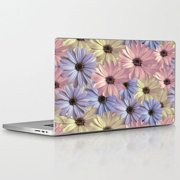 Laptop Skin for MacBook Air/ Pro/ Retina and PC Laptops - Daisy - Pink Yellow Blue Floral Pattern Design Decal