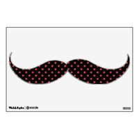 Red Polka on Black (any color) Moustach Wall Decal from Zazzle.com