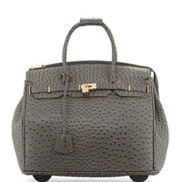 Kendall Ostrich-Embossed Faux Leather Rolling Bag, Gray
