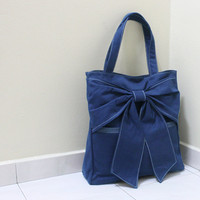 QT Canvas Tote in Royal Blue - Double Straps Shoulder Bag
