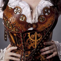 Hard Leather Clockwork Bra - Made to order
