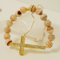 Gold Rhinestone  Sideway Cross With Brown Agate Stone Elastic Bracelet