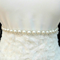 Elegant pearl, and rhinestone, belt, sash for wedding, party, pageant, birthday or date night