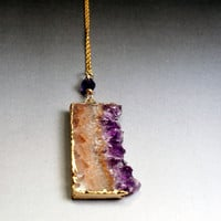 Amethyst Slice Necklace - Geode / Druzy Jewelry