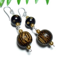 Wood and Carved Bone Long Earrings Bold Fashion Jewelry Silver Brown