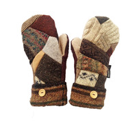 Brown Patchwork Mittens, Recycled Mittens by Sweaty Mitts Handmade in Wisconsin Tan Hippie Boho Earthy Outdoor Gear Designer Woodland