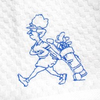 Kitchen Towel with Lady Golfer Embroidery Waffle Weave Thread Choice
