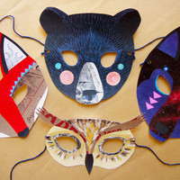 Woodland Creatures Mask Set by kissmego on Etsy