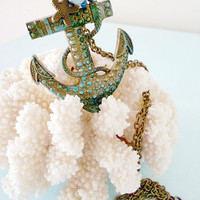 TALES of a MARINE JOURNEY 2 Patina &amp; Verdigris Sea Anchor Long Necklace in Antique Bronze with Starfish Charm and Conch