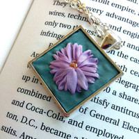 Lavender and Green Flower Embroidered Pendant Necklace - Silk Ribbon Embroidery by BeanTown Embroidery