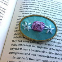 Turquoise, Lavender and White Embroidered Flower Pendant - Silk Ribbon Embroidery by BeanTown Embroidery