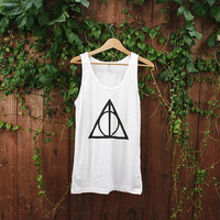 Deathly Hallows Unisex Tank - Size Medium Only - American Apparel Poly Cotton Tank - MADE TO ORDER