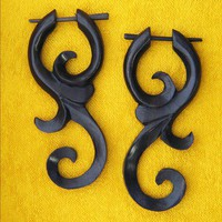 Wooden Earrings - Ma'ayan Curls Post Earrings - Black