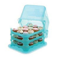 Cupcake Courier 36-Cupcake Plastic Storage Container,Soft Blue Sky: Kitchen & Dining