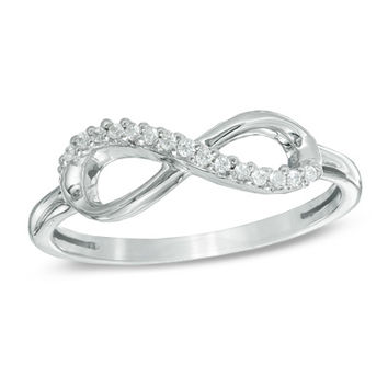 Diamond Accent Sideways Infinity Midi Ring in Sterling Silver