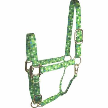 DuMOR® Premium Lime Polka Dot Pattern Halter for Medium Horse