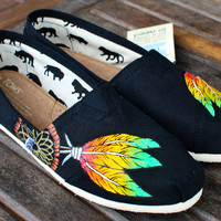 Custom Hand Painted TOMS -- Rasta Dream Catcher on Black Canvas Classic TOMS Shoes -- Customizable - US Mens