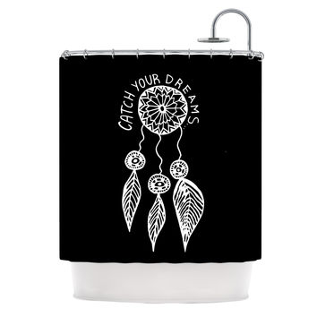 "Vasare Nar ""Catch Your Dreams Black"" White Typography Shower Curtain - 69"" x 70"" / Polyester"