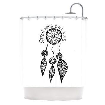 "Vasare Nar ""Catch Your Dreams"" Typography Illustration Shower Curtain - 69"" x 70"" / Polyester"