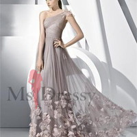 A-line One Shoulder Floor-length Tulle Dress With Hand Made Flower at Msdressy