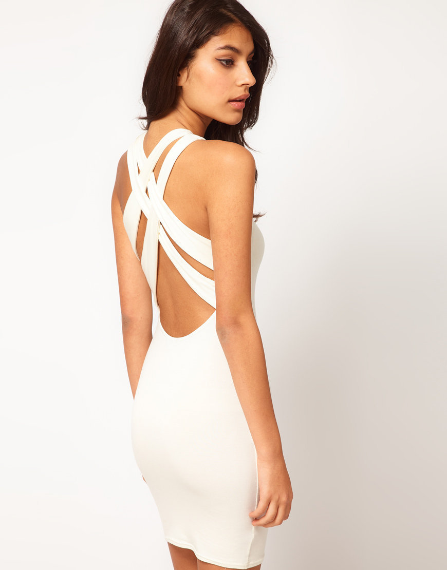 ASOS Mini Dress With Cross Back Strap at asos.com