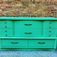 Vintage Dresser In Minty Green
