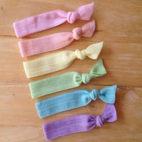 Set of 6 elastic hair ties - pastel hair ties, ponytail holders, no crease hair ties