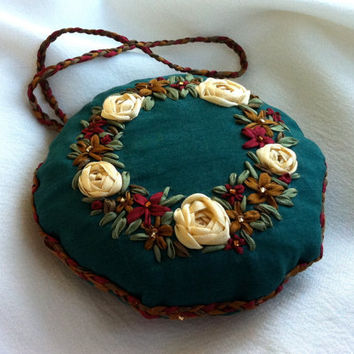Embroidered Christmas Wreath Holiday Ornament - Silk Ribbon Embroidery, BeanTown