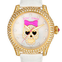 Betsey Johnson &#x27;Bling Bling Time&#x27; Skull Dial Leather Strap Watch | Nordstrom
